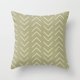 Mudcloth Olive Green Throw Pillow