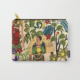 Frida's Garden, Casa Azul Lush Greenery Frida Kahlo Landscape Painting Carry-All Pouch