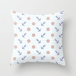 The thalassophile (a lover of the sea) - Anchor and Helm Seamless Pattern illustration Throw Pillow