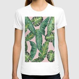 Jungle Leaves, Banana, Monstera II Pink #society6 T-shirt