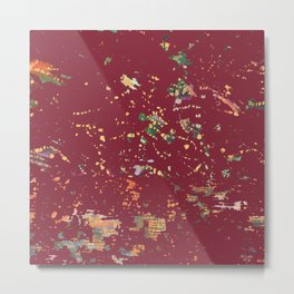 Cranberry Red Bohemian Fiber Art Metal Print