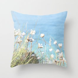 Wild Flowers Cliff side Throw Pillow