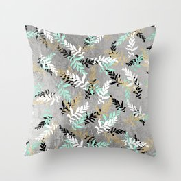 Modern chic silver black white mint leaves floral Throw Pillow