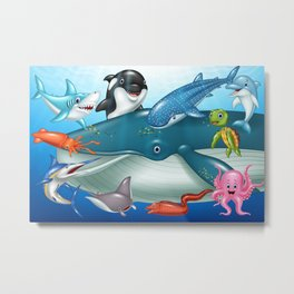 Whale and their friends fish illustration Metal Print