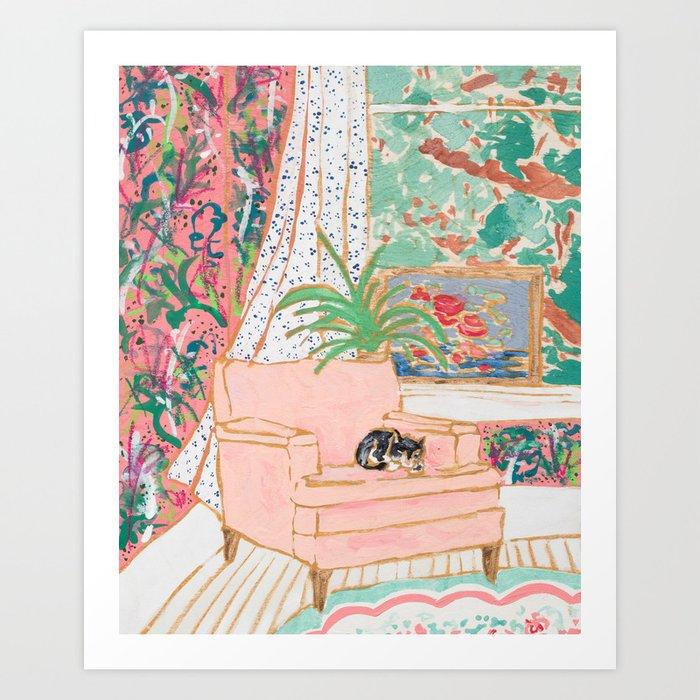 Catnap - Tuxedo Cat Napping in Chair by the Window Kunstdrucke