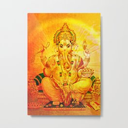 Ganesha Gold, Ganapati, Vinayaka, Elephant God Metal Print
