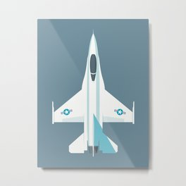 F-16 Falcon Fighter Jet Aircraft - Slate Metal Print