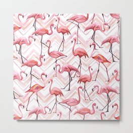 Watercolor Flamingo Pink Chevron Flamongos Metal Print