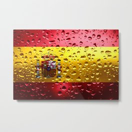 Flag of Spain - Raindrop Metal Print