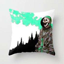 Silent Scream - Cyan Throw Pillow