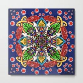 Psychedelic Mandala Visionary Art - Fly Agaric Frog Metal Print