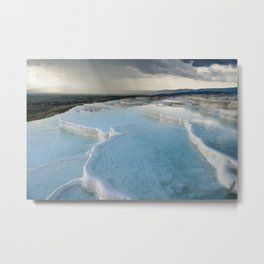 Storm Over the Terraces | Pamukkale, Turkey Metal Print