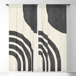Mid century modern - Sun & Rainbow black Blackout Curtain