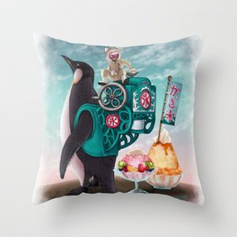 Penguin Shaved Ice Throw Pillow