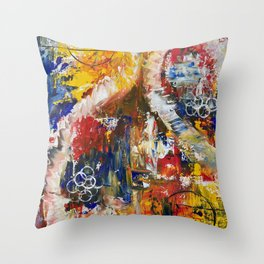 Dueling Seahorses Throw Pillow