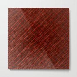Cross ornament of their red threads and iridescent intersecting fibers. Metal Print