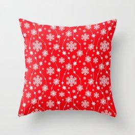 Christmas Red Snowflake Pattern Throw Pillow