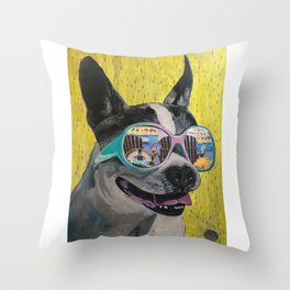 Frosty Face Friday with Gracie Gabriella at the Beach Throw Pillow