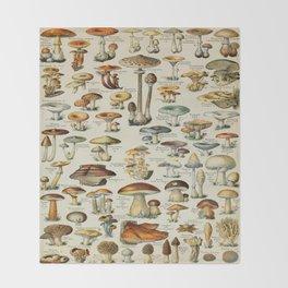 Mushrooms Vintage Scientific Illustration French Language Encyclopedia Lithographs Educational Throw Blanket