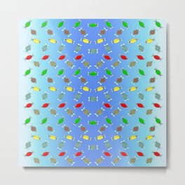 Candy, Festive Block Party Clear Skies, Christmas and Holiday Fantasy Collection   Coordinate Metal Print