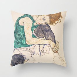 Egon Schiele - Seated Woman with Legs Drawn Up Throw Pillow