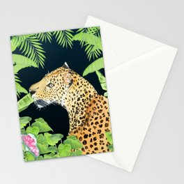 Leopard in Jungle, Night time Background Stationery Cards