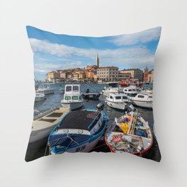Boats on the Waterfront Rovinj Croatia Throw Pillow