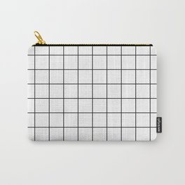 Grid Pattern Stripes Lines Black and White Minimalist Geometric Stripe Line Carry-All Pouch