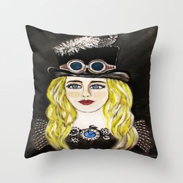 Steampunk Beauty Throw Pillow