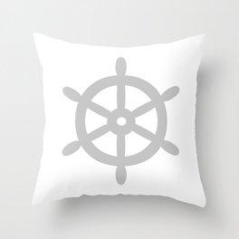 Ship Wheel (Gray & White) Throw Pillow