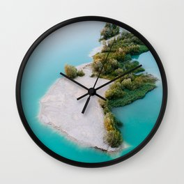 Magical Forest Island with a beach in the middle of a cyan lake – Landscape Photography Wall Clock