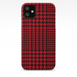 Red and Black Houndstooth Plaid iPhone Case