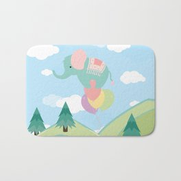 Elephant and Balloons, nursery decor , Bath Mat