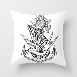 Anchor Swallow & Rose Old School Tattoo Style Throw Pillow
