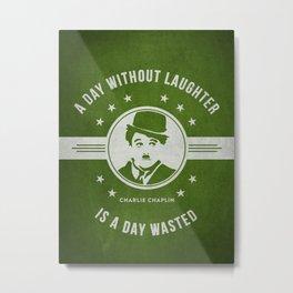 Charlie Chaplin - Green Metal Print