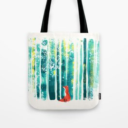 Fox in quiet forest Tote Bag