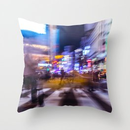 Blurred motion at Shibuyacrossing Throw Pillow