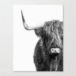 Highland Cow Portrait - Black and White Leinwanddruck