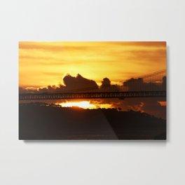 Dramatic sunset with bridge Metal Print
