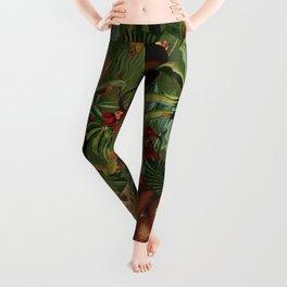 Vintage & Shabby Chic - Green Monkey Banana Jungle Leggings