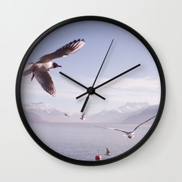 Seagulls And Bread Wall Clock