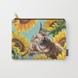 Highland Cow with Sunflowers in Blue Carry-All Pouch