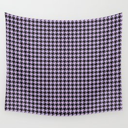 Small Houndstooth Pastel Lilac Lavender Purple and Black Pattern Wall Tapestry