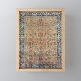 Kashan Floral Persian Carpet Print Framed Mini Art Print