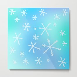 Unique Snowflakes on Blue Gradient Background Metal Print