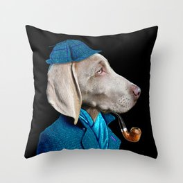 Dog Sherlock Holmes Throw Pillow
