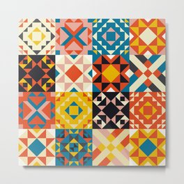 Maroccan tiles pattern with red an blue no2 Metal Print