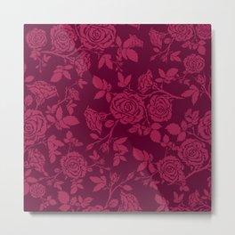 Red Rose Pattern Metal Print