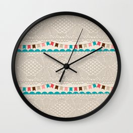 Vintage elegant ivory floral lace colorful flags pattern Wall Clock