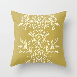 Modern folk art on mustard yellow Throw Pillow